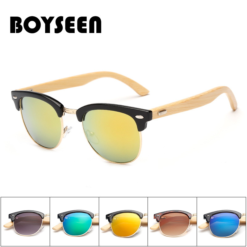 BOYSEEN New Fashion Products Men Women Sunglass Bamboo Without Border Sunglasses au Retro Wood Lens Wooden Frame Handmade S1505