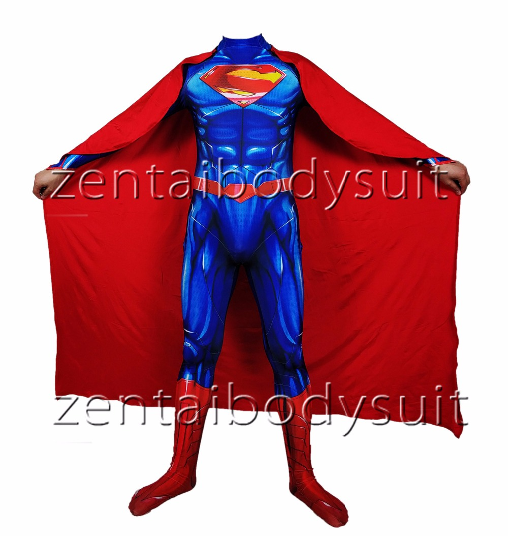 New 52 Superman Cosplay costume Superhero Bodysuit 3D Printting Lycra Spandex Zentai Halloween Party suit free