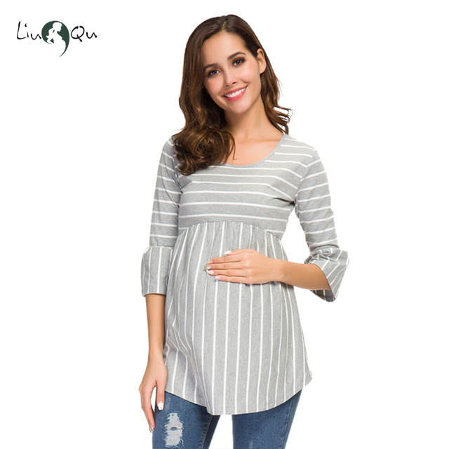 Ruffle Maternity Tops Loose Pregnancy Blouse Striped T-shirt Tunic 3 Quarter Casual Maternity Clothes Pregnant Womens Clothing 1