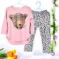 Conjuntos de Roupas Meninas Do Bebê Roupas das meninas set Criança Crianças Roupas terno rosa Luva Cheia T Camisa do Leopardo Legging Roupas Para Crianças