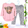 Girls Clothes set Toddler Clothing Sets Baby Girls Kids Clothes suit pink Full Sleeve T Shirt Leopard Legging Children Clothing