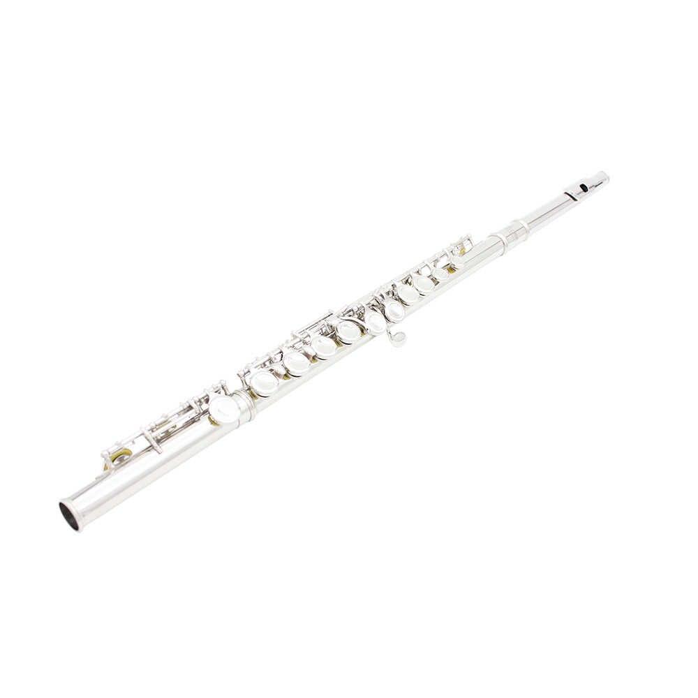 SLADE Посеребренная флейта 16 отверстий C Ключ Мельхиор с чистящей тканью, палочка, перчатки, ремешок, мини отвертка, мягкий мешок