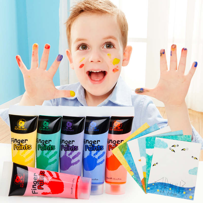 лучшая цена TOPBRIGHT Children washable 6 color finger paint painting tools painting set supplies baby graffiti gift