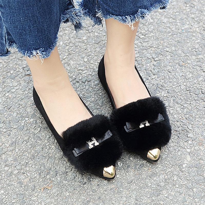 Glissent Sur Hyoma Bowtie Gary De Femmes Appartements Femme Chaussures Noir Mujer Fourrure Confortable Strass Plus gris Pointu Noir Bout Taille Zapatos 4w8azqE