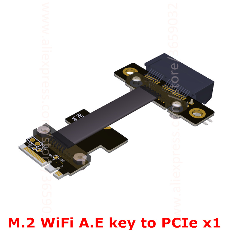 M.2 WiFi A.E Key A+E To PCI-e 1x x1 Riser Extender Adapter Card Ribbon Gen3.0 Cable AE Key A E For PCIE 3.0 x1 x4 x16 M2 Card riser x1 pcie pci e 1x to m 2 a e key a e ae wifi wan ngff adapter card extender ribbon cable 5cm 1m 1ft gen3 0 8gbps