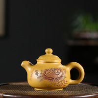 Real Yixing Purple Sand Pot All Handmade Raw Mine Golden Section Mud Pan Pot Tea Pot Health Pot Kungfu Teapot Tea Set