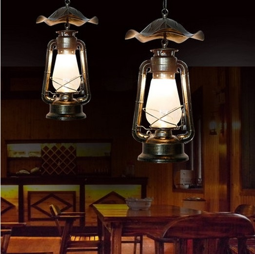 Village Creative Kerosene Lantern Droplight LED Vintage Pendant ...