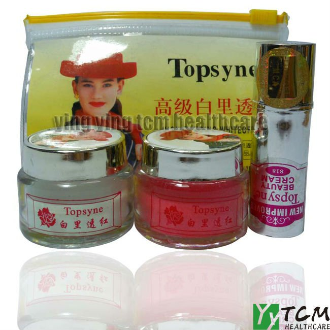 Silver Topsyne RANRING WHITE in RED Face Care Set day cream+nigh cream+pearl cream anti freckle face care 12set/lot