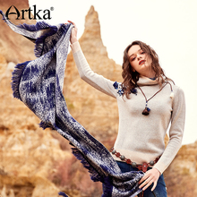 цена на ARTKA Women's Turtleneck Pullover 2018 Autumn Sweater Women Ribbed Embroidery Sweater Knitted Pullover Elegant Sweater YB12479Q