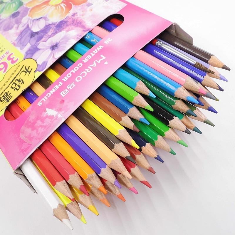 [MARCO] 36 Warna Larut Air Pensil warna Pensil Cat Air Set Untuk Sekolah Menggambar Perlengkapan Seni Sketsa 4120-36CB
