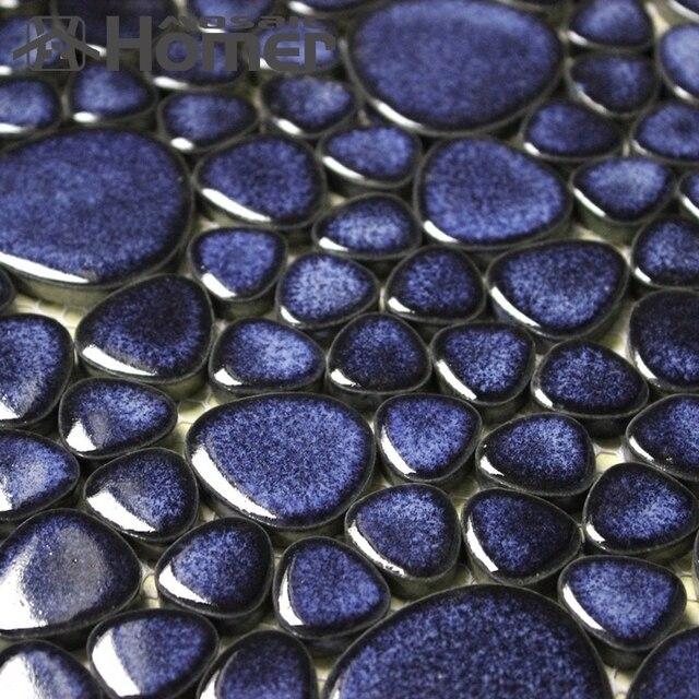 Superbe Shipping Free!! Navy Blue Pebble Ceramic Mosaic Tiles Bathroom Floor Tiles  HME7006 For Wall