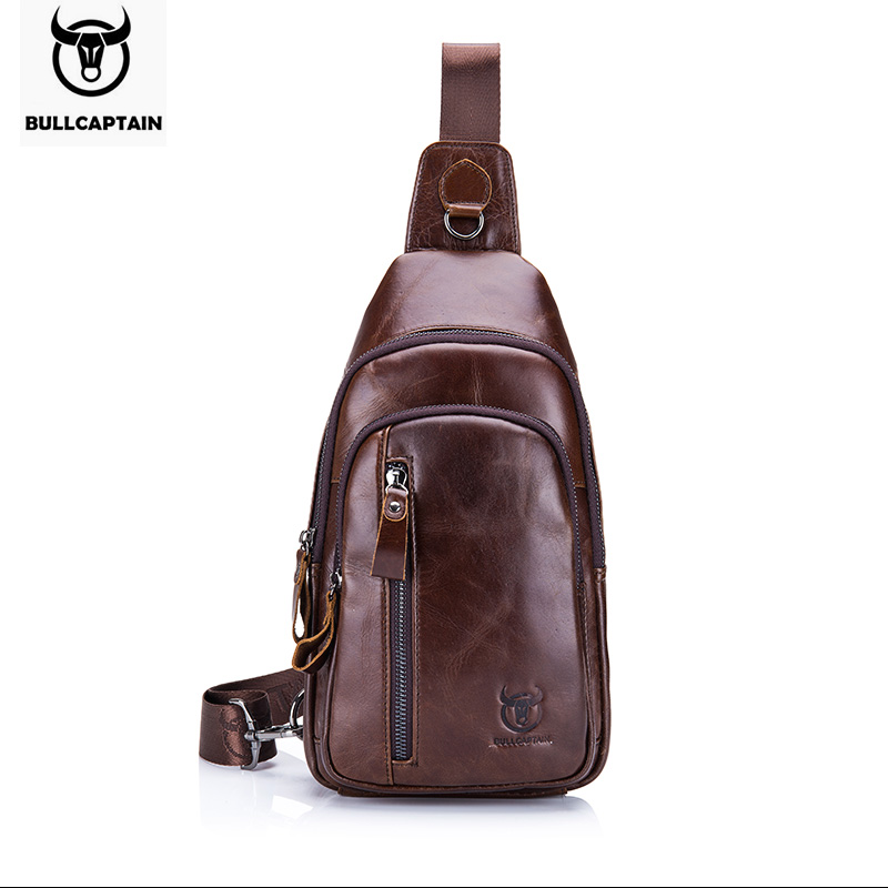 BULLCAPTAIN New Arrival Chest Bag for Men Crossbody Bag Genuine Leather Leisure Men Chest Pack Single Shoulder Strap Back Bags 2016 new lady chest pack female leather satchel leisure korean tide printing leather sports backpack bag chest free shipping
