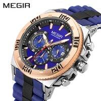 MEGIR Chronograph Sport Watch Men Fashion Big Dial Men Quartz Watches Luxury Brand Army Military Wrist Watch Clock Time Hour