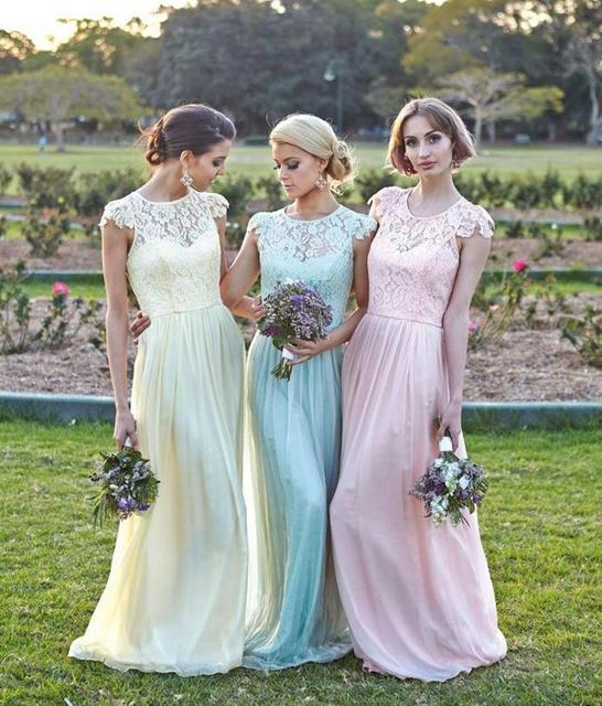2015 Hot Sale Light Yellow Pink Light Blue Lace and Chiffon Long Bridesmaid  Dresses Cap Sleeve A-Line Floor-Length Party Dress c29d1118f6a4