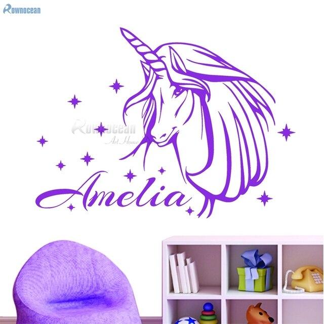 unicorn personalised name girls bedroom decor vinyl wall sticker