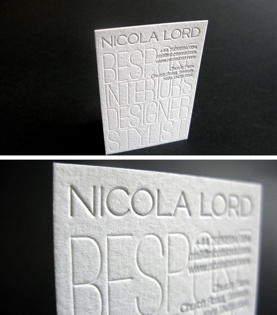 2016 Simple Design Debossed Printing Custom Business Cards White ...