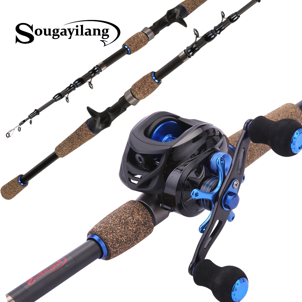 Sougayilang 4 Sections Fishing Rod Spinning 1 8m 2 1m 2 4m Carbon Spinning Rod and
