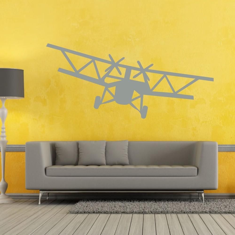 Huge Bi Plane Vinyl Wall Decal kids rooms Wall Stickers Airplane ...
