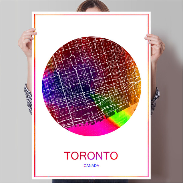 World famous city map toronto canada print poster print on paper or world famous city map toronto canada print poster print on paper or canvas wall sticker bar gumiabroncs Image collections