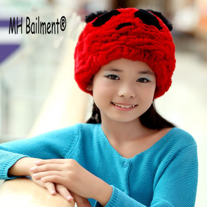 2017 Fashion Real Rabbit Knitted Fur Hat Winter Warm Ear Hat For Children Girl 's Animal Lovely Brand Thick Fur Beanies Cap H#15 2016 children real rabbit fur hats boy girl winter warm solid hat for kids child ear hat lei feng unises red black cap qmh06