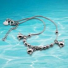 Шарм твердые 925 стерлингового серебра бусины кулон на цепочке дамская ножной браслет