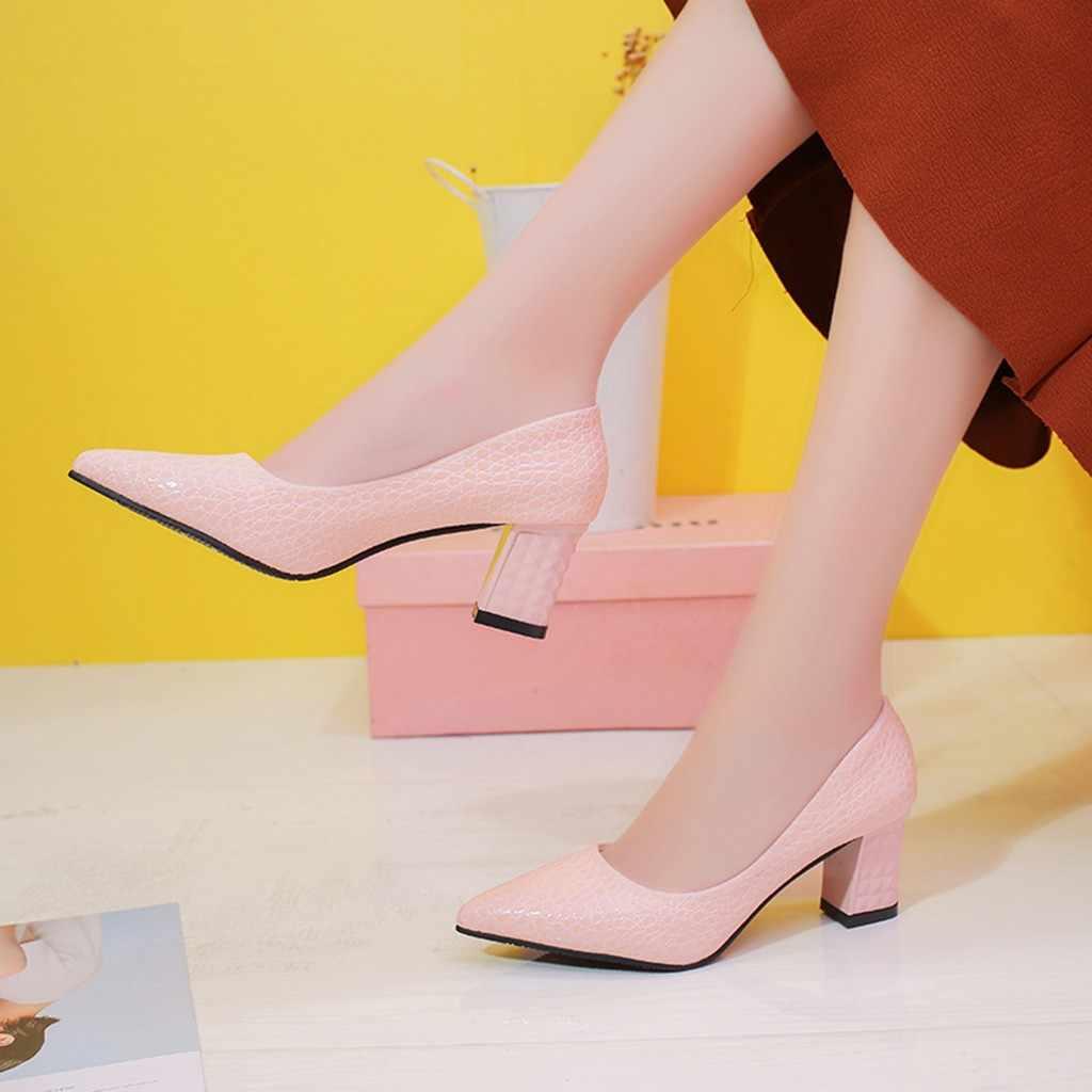 SAGACE נעלי נשים אופנה סקסי מוצק מסיבת חתונה עבה גבוהה עקב אחת נעלי הבוהן מחודדת מוצק חדש נעלי אישה 2018dec8