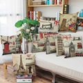 Decorative pillows england style scenery pillow cover waist pillowcase home office coffee supplies retro cushion cover