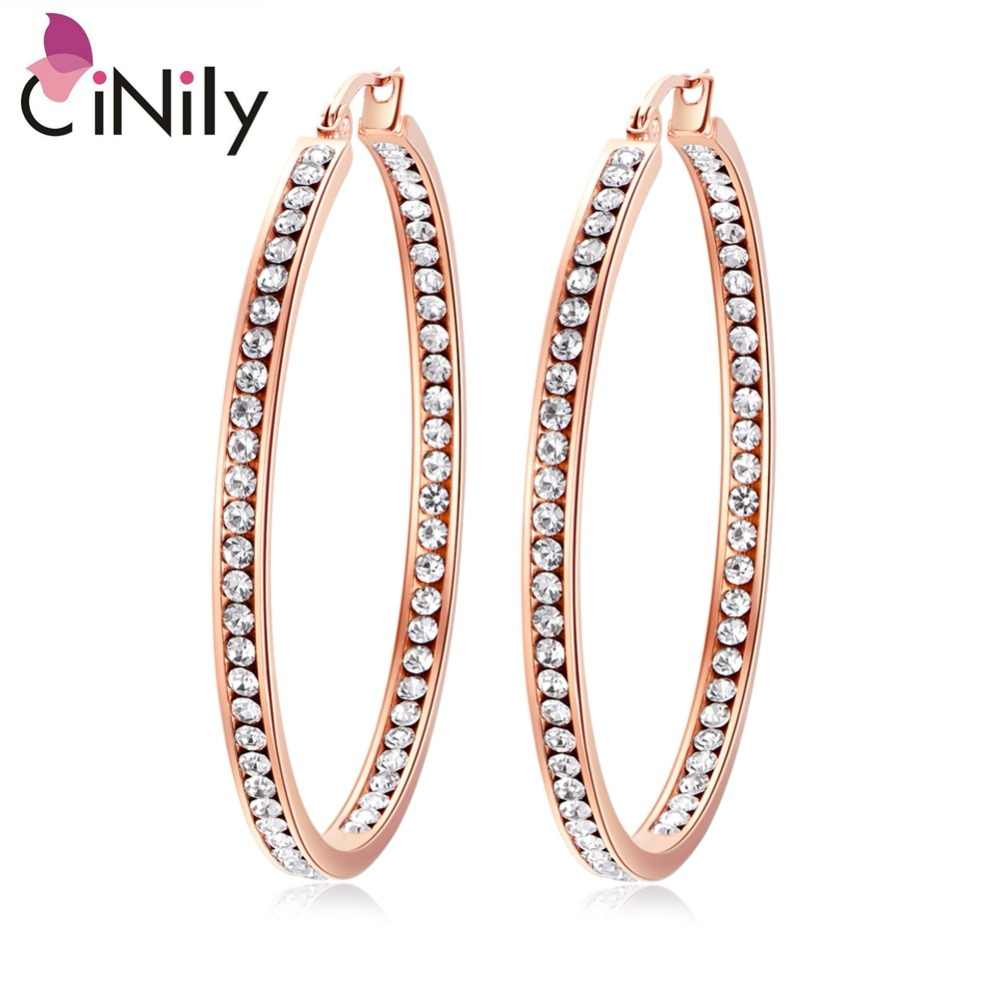 CiNily Lavish Large Clear Cubic Zirconia Crystal Filled Hoop Earrings Stainless Steel Rose Gold Color Party Chic Jewelry Female