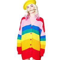 Women Knitted Cardigan Loose Long Sleeves Rainbow Color Fashion European 2017 Autumn Winter Ladies Sweater Coats