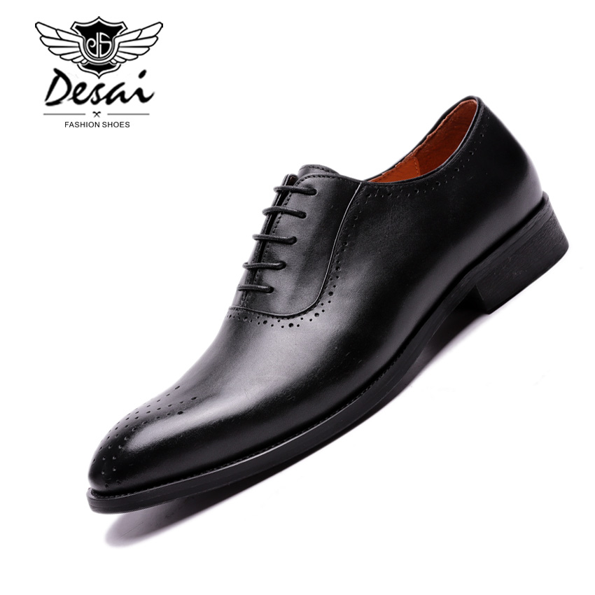 Desai British Style Handmade Genuine Leather Formal Suit Dress Shoes Cow Full Grain Leather Brogue Carved Shoes Men OxfordsDesai British Style Handmade Genuine Leather Formal Suit Dress Shoes Cow Full Grain Leather Brogue Carved Shoes Men Oxfords