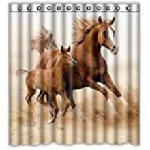 Пользовательские Бег лошадь пользовательские душ Шторы узор Водонепроницаемый душ Шторы для Ванная комната 66*72 дюймов