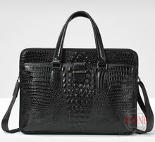 Luxury Portable commercial crocodile pattern cowhide genuine leather man bag briefcase free shipping