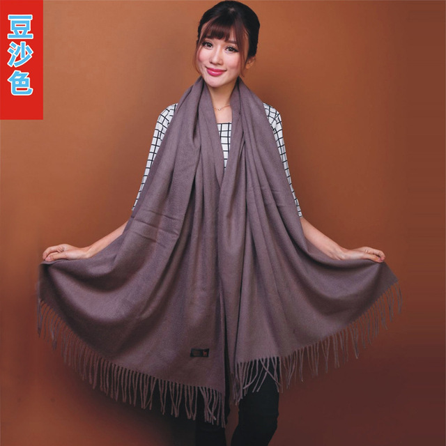 2015 New Fashion Chinese Women's Fashion 100% Wool Pashmina Scarf Cashmere Shawl Tassels Wrap Solid Color Free Shipping