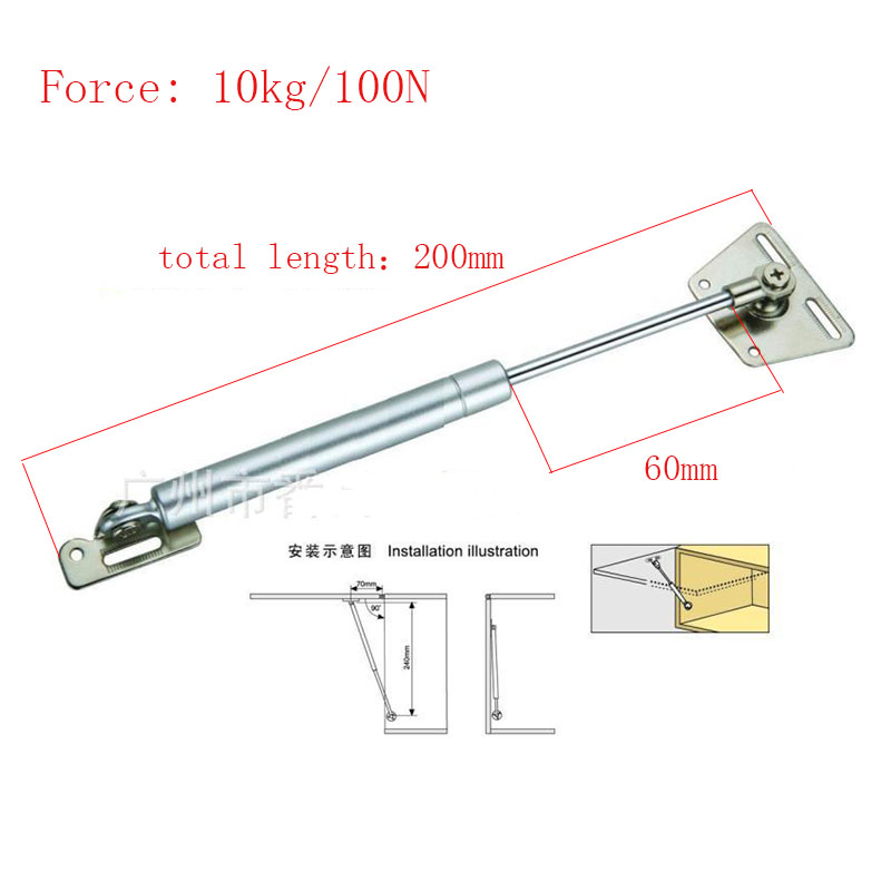 Kitchen Cabinet Door Lift Pneumatic Support Hydraulic 200mm central distance, 60mm strok Gas Spring Stay for Wood Box dsha hot 10x soft close kitchen cabinet door hinge hydraulic slow shut clip on plate