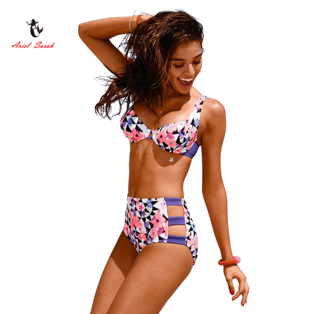 Ariel Sarah Brand 2017 New Arrival High Waist Bikini Purple Flower Printing Summersuit Sexy Young Girls Bikinis Biquinis