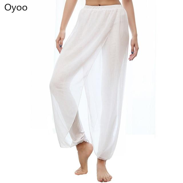 Oyoo Mignon Blanc Cinch-Fond Lâche Maille Yoga Pantalon Taille Haute  Élastique Solide Noir Pantalon d2e8876f05b