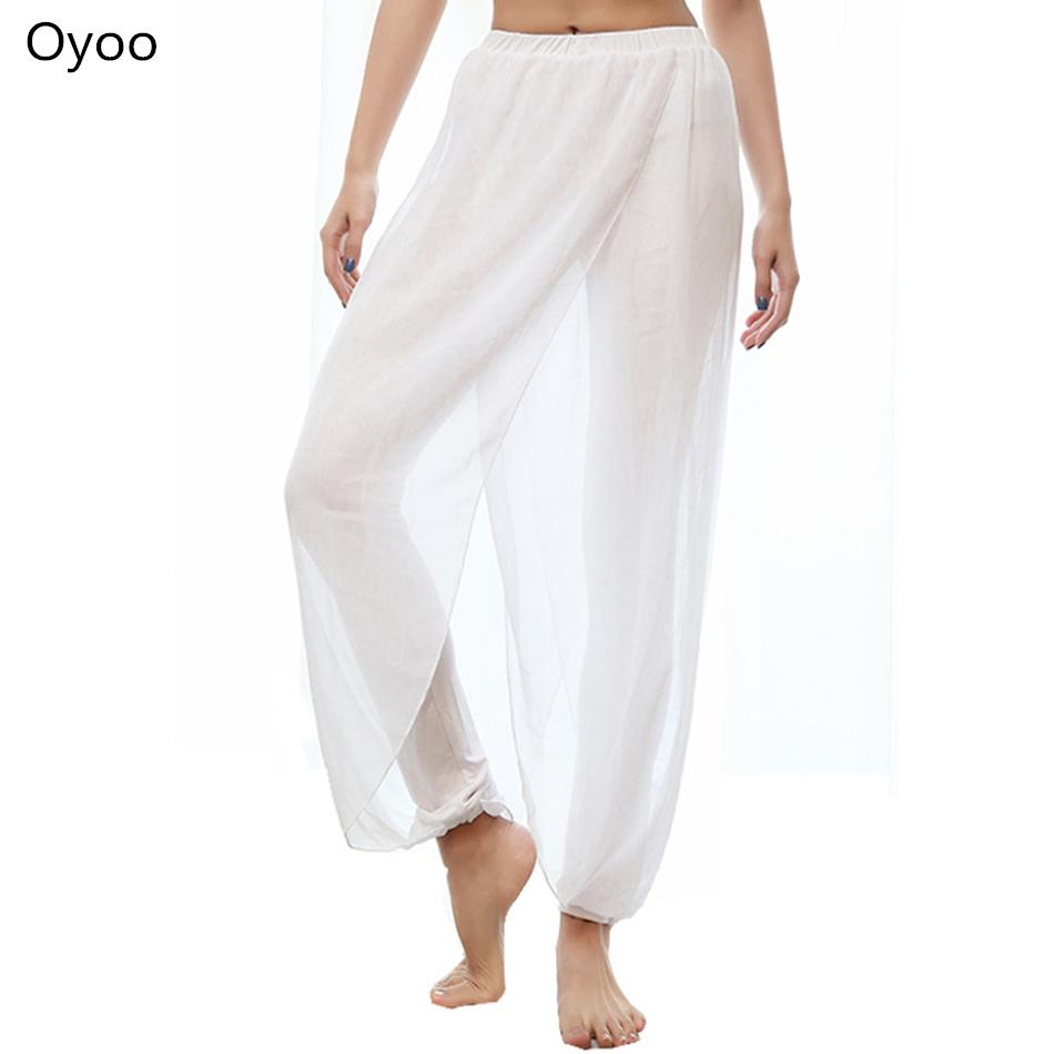 Prix pour Oyoo mignon blanc cinch-fond lâche maille yoga pantalon taille haute élastique solide noir pantalon de danse fitness sport pantalon
