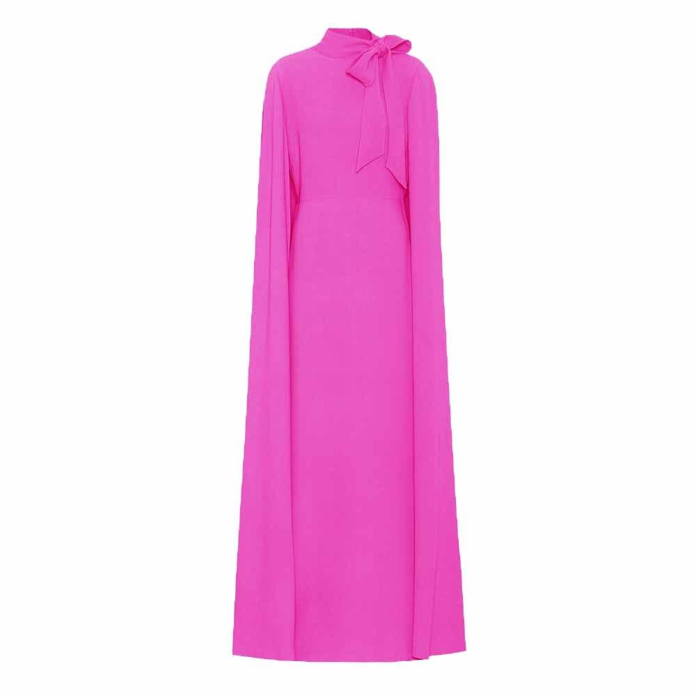 2018 mujeres del otoño elegante capa larga más tamaño Rosa arco cuello Club Party Club Robe moda Maxi grandes tamaños Vestidos