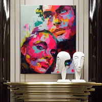 Hand painted Francoise Nielly Palette knife lover portrait Face Oil painting Character figure canva wall Art picture