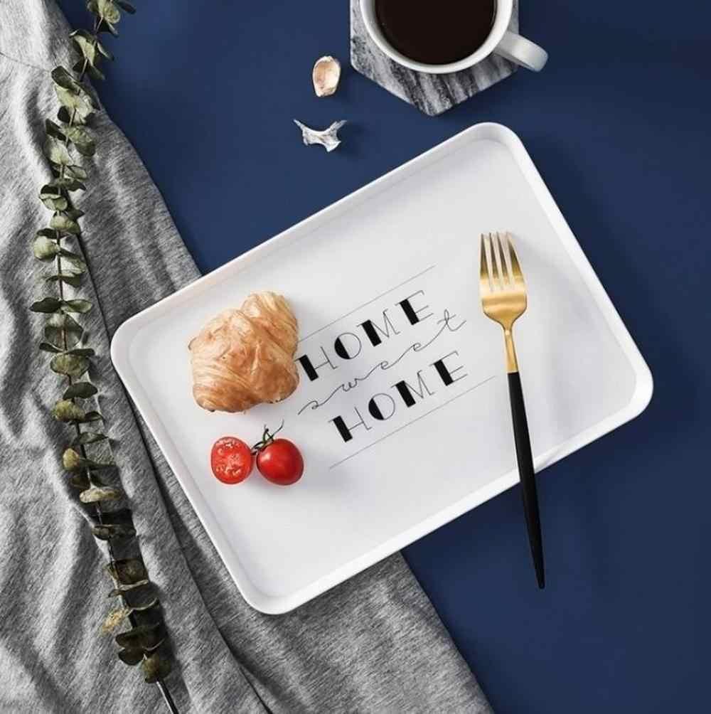 Plastik Persegi Panjang Rumah Tangga Sederhana Roti Sarapan Piring Piala Plat Hotel Tea Tray untuk Buah Nampan Roti Peralatan Makan