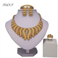 Wholesale Fashion Charm Gold Color Jewelry Sets Women African Pandent Necklace Long Earrings Bracelet Rings Dress