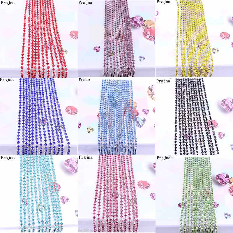 Prajna SS6 1 Yard Rhinestones For Clothing Stones And Crystals Cup Chain Rhinestone Trim Sew On ornament Accessories Cheap E