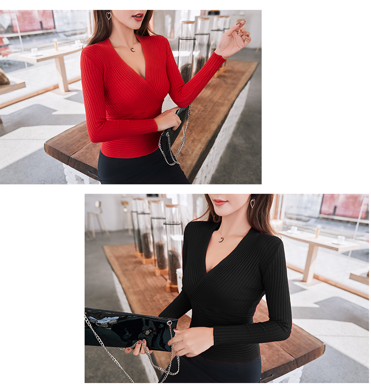 19 New Sexy Deep V Neck Sweater Women's Pullover Casual Slim Bottoming Sweaters Female Elastic Cotton Long Sleeve Tops Femme 26