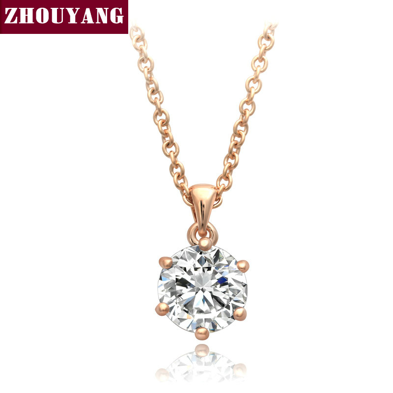 ZHOUYANG Top Quality Noble Crystal Rose Gold Color Fashion Pendant Jewelry Made with Austria Crystal Wholesale ZYN407 ZYN377