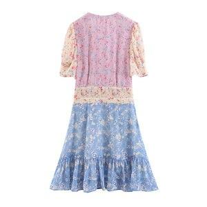 Image 5 - Boho loveshack/летние платья с v образным вырезом и оборками, тонкое шелковое праздничное платье с аппликацией в стиле пэчворк, особый интерес, мини платье со складками
