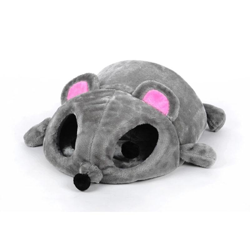Forma de ratón gris Camas para perros para perros pequeños Gatos Cama cueva Cojín removible, Parte inferior impermeable para mascotas Ratón del gato Cama de la casa Regalo para mascotas