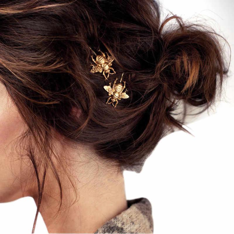 แฟชั่นผู้หญิง 2PCS สไตล์สาวประณีต Gold Bee Hairpin คลิปด้านข้างคลิปผมสง่างามหวาน Headwear อุปกรณ์เสริมผม