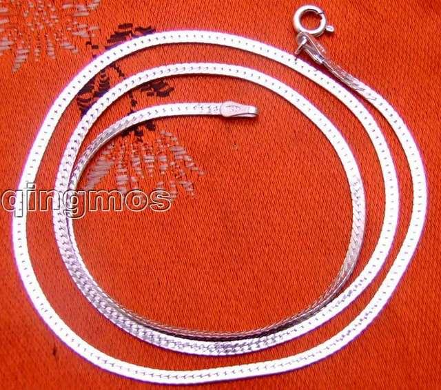 """Широкий 1,8 мм чистое серебро сплошной S925 zonary форма ювелирные изделия 18 """" цепь - gp161"""