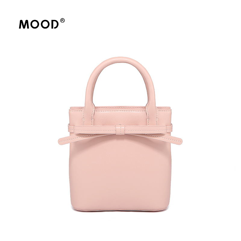 MOOD women leather handbags bucket bag 2017 new fund mini double sash bows inclined shoulder bag handbag Free shipping yuanyu 2018 new hot free shipping python skin women handbag single shoulder bag inclined female bag serpentine women bag