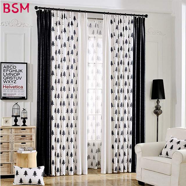 Black And White Curtains For Living Room Design Indian Style Forest Trees Modern Bedroom Middle Shade Hotel House Drapes Out Window Fabric Xy8026